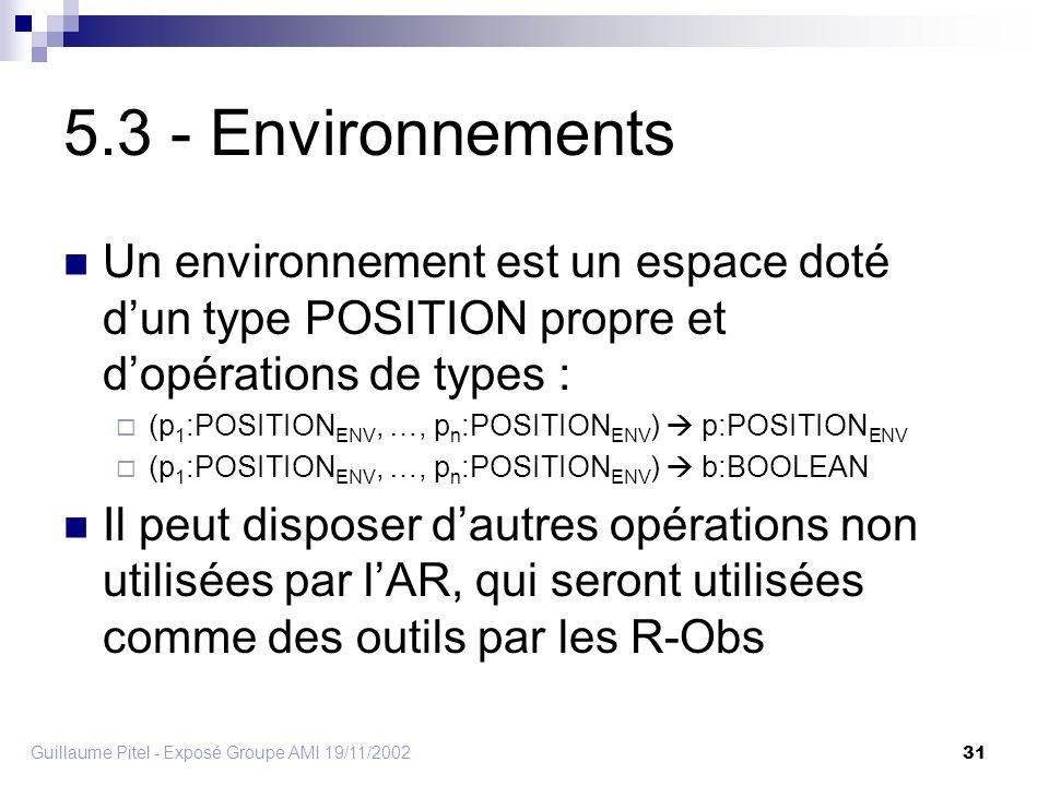 Guillaume Pitel - Exposé Groupe AMI 19/11/2002 31 5.3 - Environnements Un environnement est un espace doté dun type POSITION propre et dopérations de types : (p 1 :POSITION ENV, …, p n :POSITION ENV ) p:POSITION ENV (p 1 :POSITION ENV, …, p n :POSITION ENV ) b:BOOLEAN Il peut disposer dautres opérations non utilisées par lAR, qui seront utilisées comme des outils par les R-Obs