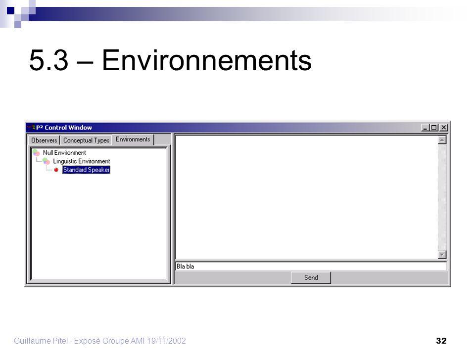 Guillaume Pitel - Exposé Groupe AMI 19/11/2002 32 5.3 – Environnements