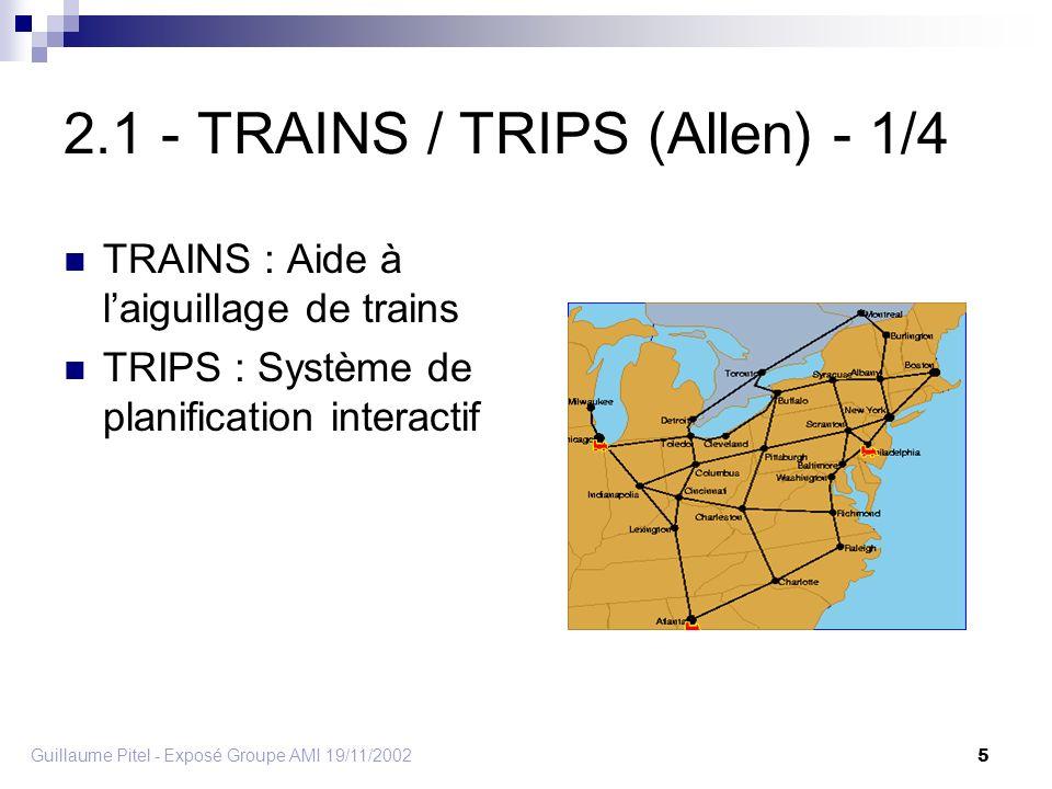 Guillaume Pitel - Exposé Groupe AMI 19/11/2002 5 2.1 - TRAINS / TRIPS (Allen) - 1/4 TRAINS : Aide à laiguillage de trains TRIPS : Système de planification interactif