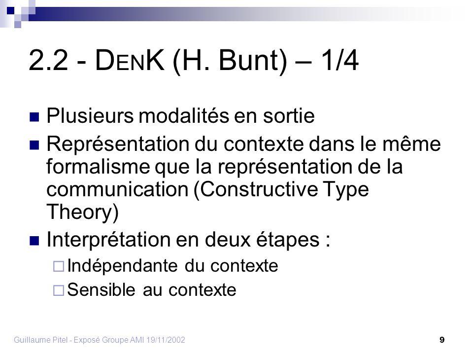 Guillaume Pitel - Exposé Groupe AMI 19/11/2002 9 2.2 - D EN K (H.