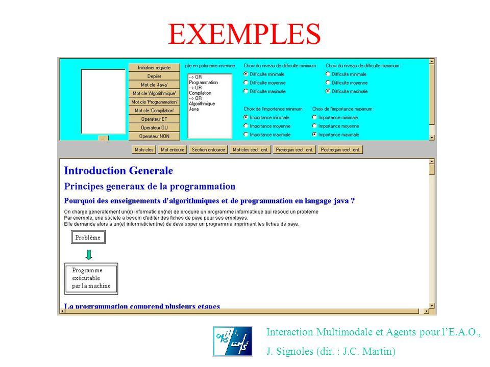 EXEMPLES Interaction Multimodale et Agents pour lE.A.O., J. Signoles (dir. : J.C. Martin)