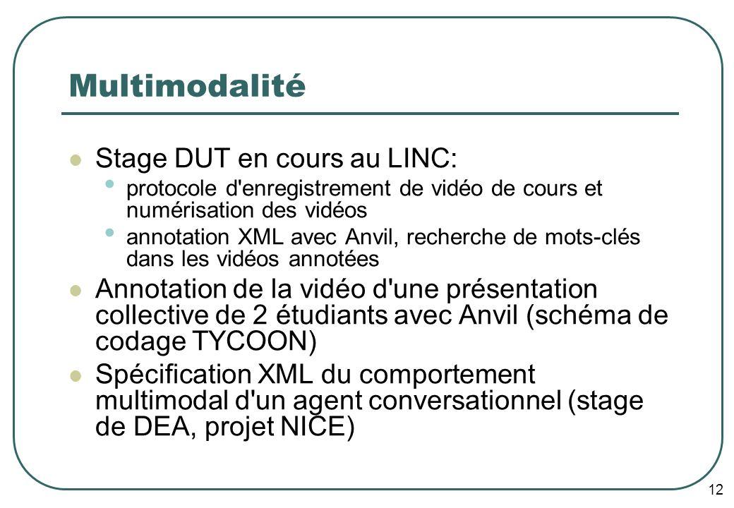 12 Multimodalité Stage DUT en cours au LINC: protocole d enregistrement de vidéo de cours et numérisation des vidéos annotation XML avec Anvil, recherche de mots-clés dans les vidéos annotées Annotation de la vidéo d une présentation collective de 2 étudiants avec Anvil (schéma de codage TYCOON) Spécification XML du comportement multimodal d un agent conversationnel (stage de DEA, projet NICE)