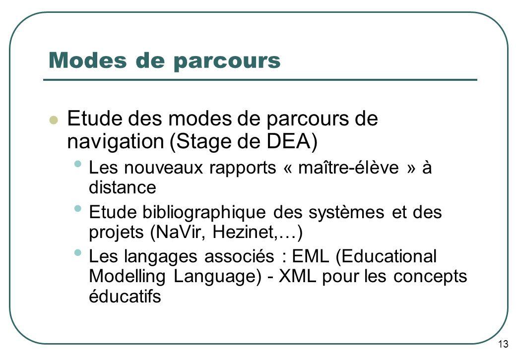 13 Modes de parcours Etude des modes de parcours de navigation (Stage de DEA) Les nouveaux rapports « maître-élève » à distance Etude bibliographique des systèmes et des projets (NaVir, Hezinet,…) Les langages associés : EML (Educational Modelling Language) - XML pour les concepts éducatifs