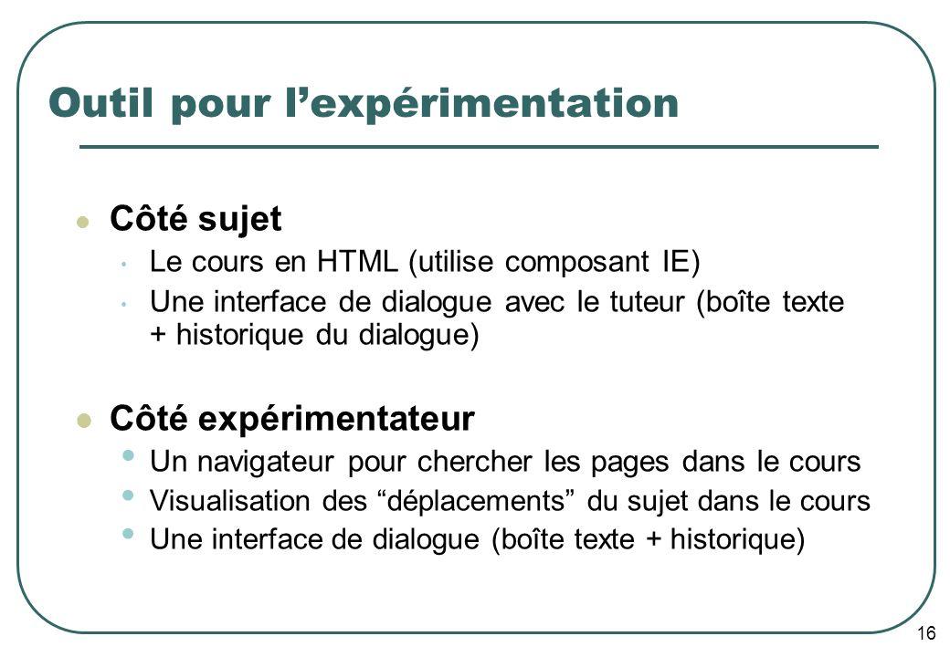 16 Outil pour lexpérimentation Côté sujet Le cours en HTML (utilise composant IE) Une interface de dialogue avec le tuteur (boîte texte + historique d