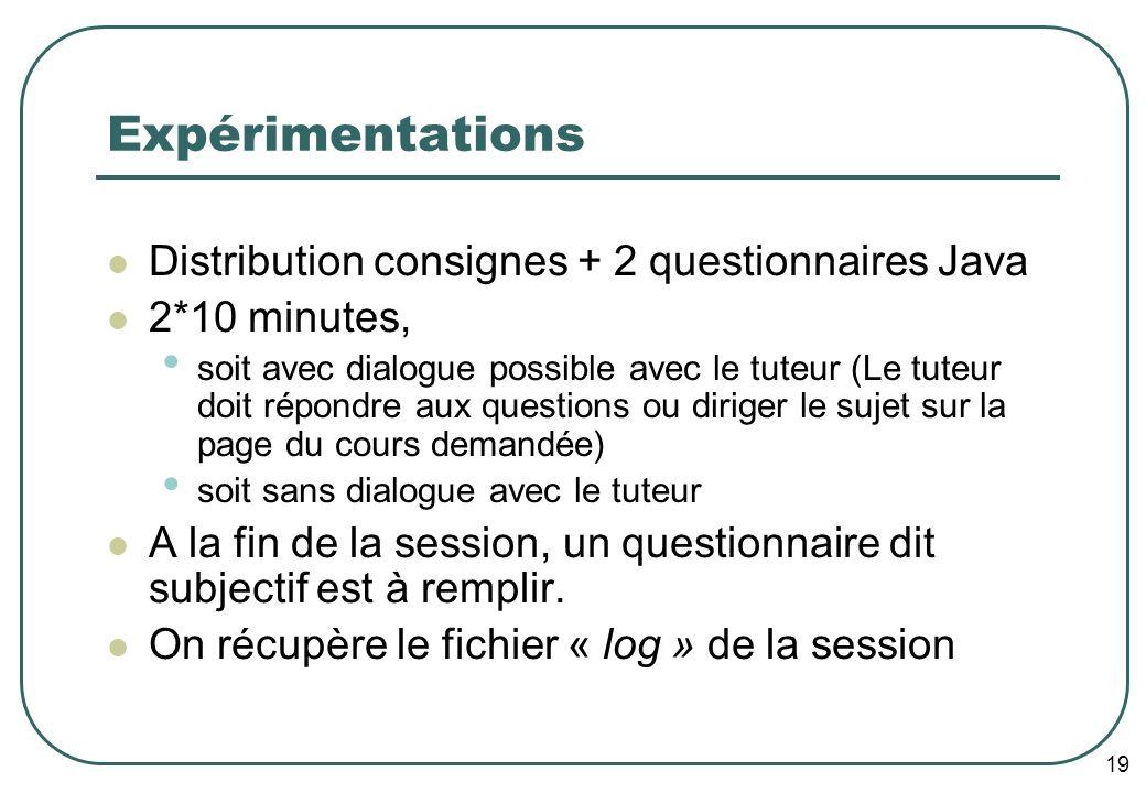 19 Expérimentations Distribution consignes + 2 questionnaires Java 2*10 minutes, soit avec dialogue possible avec le tuteur (Le tuteur doit répondre a