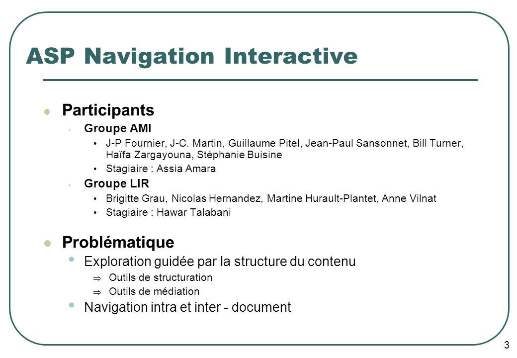 3 ASP Navigation Interactive Participants Groupe AMI J-P Fournier, J-C. Martin, Guillaume Pitel, Jean-Paul Sansonnet, Bill Turner, Haïfa Zargayouna, S
