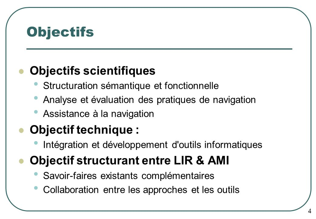 5 Applications envisagées Intra-document Navigation interactive dans un tutoriel (cas d un document actif) Fondé sur AMICAL : Navigation multimodale dans un cours de Java Inter-document Réponses à des questions de nature encyclopédique en utilisant plusieurs documents Généralisation de QALC : extrait des réponses à partir d un seul document