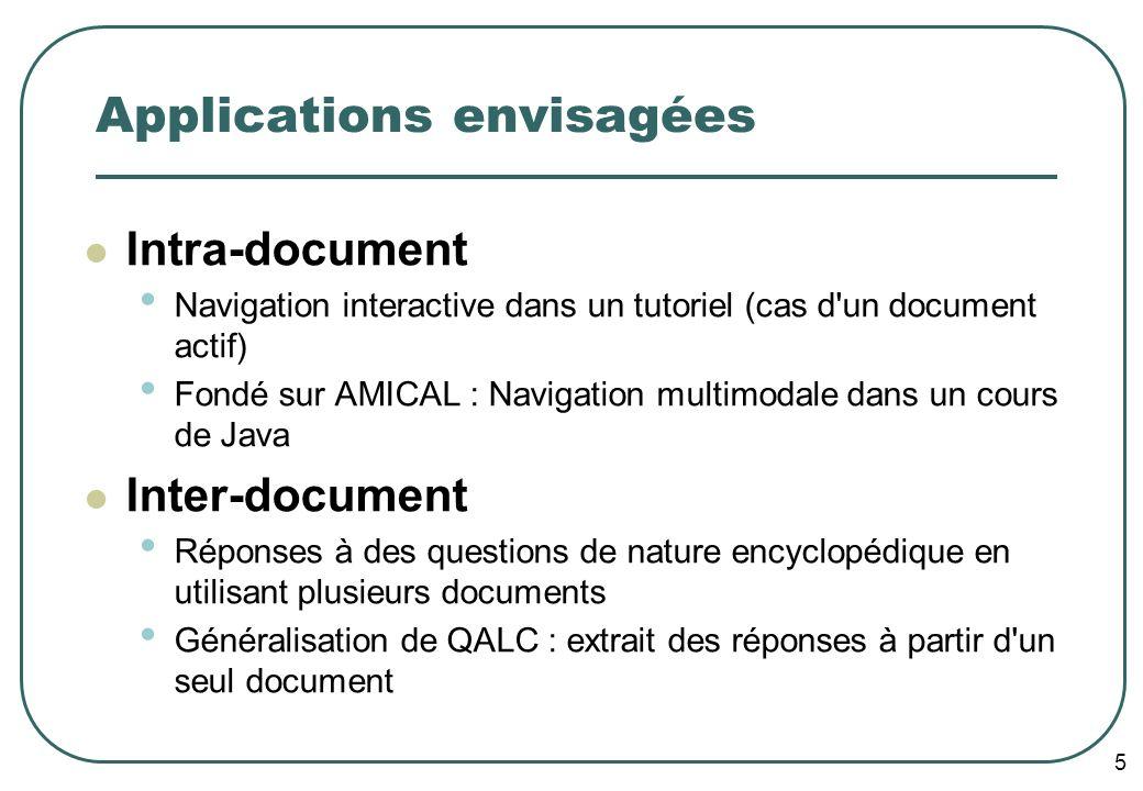 5 Applications envisagées Intra-document Navigation interactive dans un tutoriel (cas d'un document actif) Fondé sur AMICAL : Navigation multimodale d