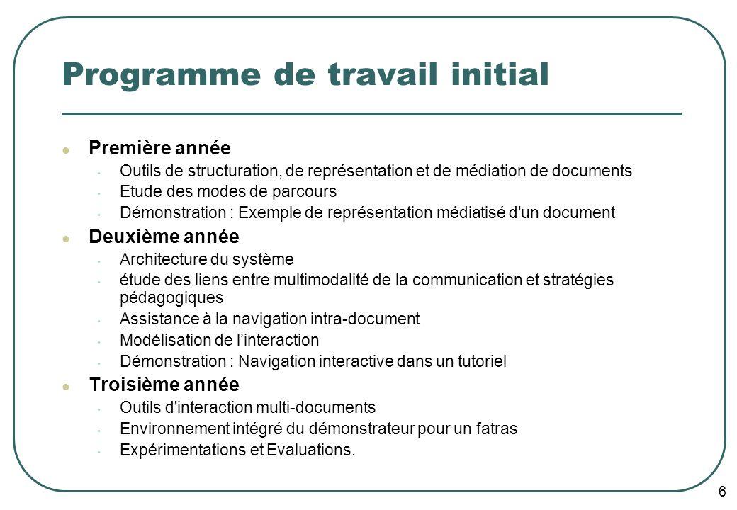 6 Programme de travail initial Première année Outils de structuration, de représentation et de médiation de documents Etude des modes de parcours Démo