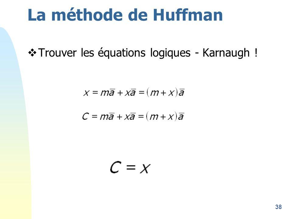 38 La méthode de Huffman Trouver les équations logiques - Karnaugh !