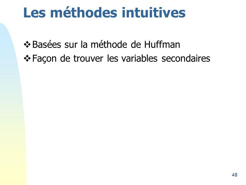 48 Les méthodes intuitives Basées sur la méthode de Huffman Façon de trouver les variables secondaires
