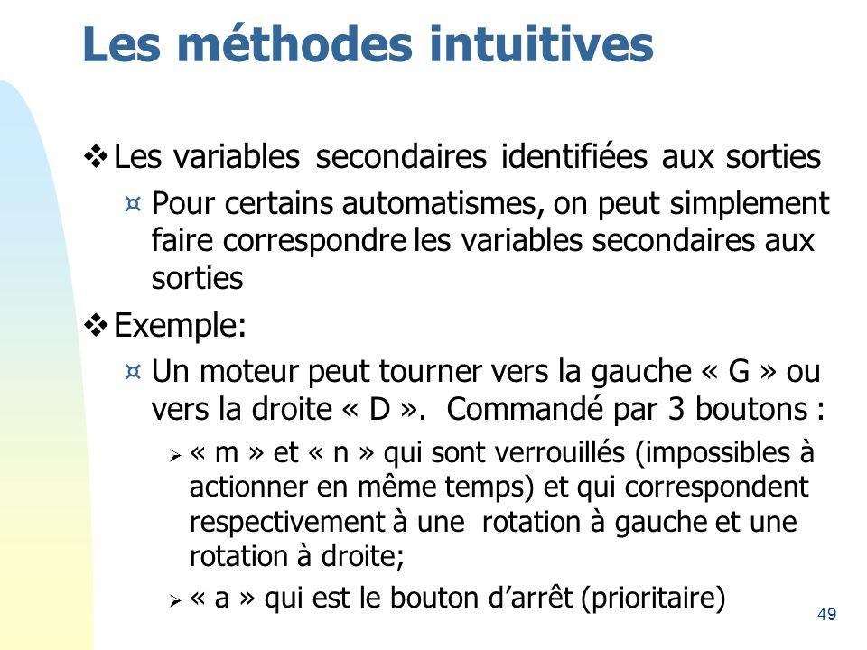 49 Les méthodes intuitives Les variables secondaires identifiées aux sorties ¤Pour certains automatismes, on peut simplement faire correspondre les variables secondaires aux sorties Exemple: ¤Un moteur peut tourner vers la gauche « G » ou vers la droite « D ».