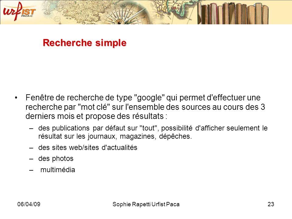 06/04/09Sophie Rapetti Urfist Paca23 Recherche simple Fenêtre de recherche de type