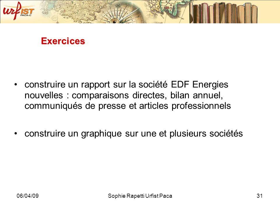 06/04/09Sophie Rapetti Urfist Paca31 Exercices construire un rapport sur la société EDF Energies nouvelles : comparaisons directes, bilan annuel, comm
