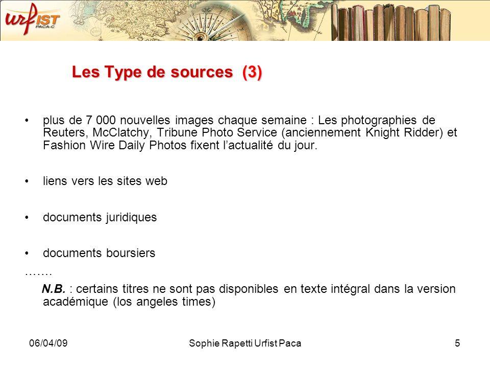 06/04/09Sophie Rapetti Urfist Paca5 Les Type de sources (3) plus de 7 000 nouvelles images chaque semaine : Les photographies de Reuters, McClatchy, T