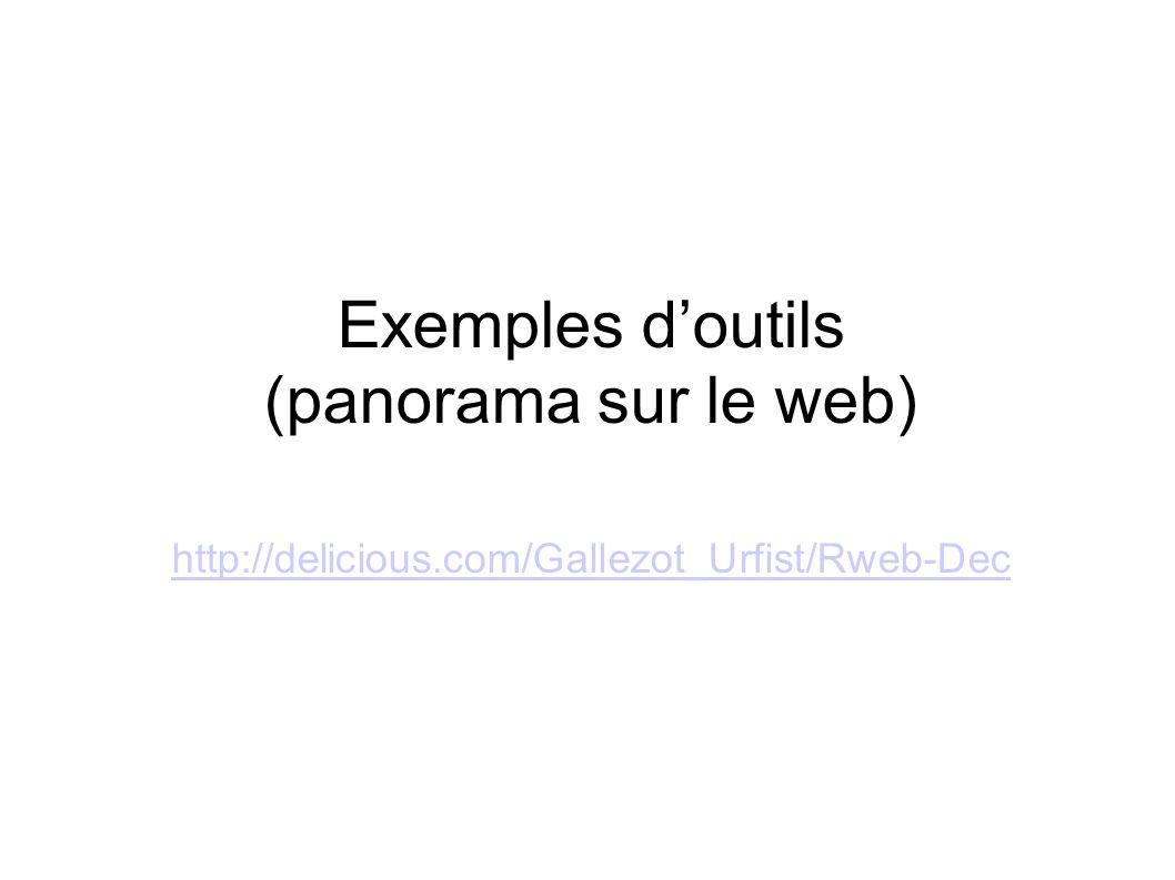 Exemples doutils (panorama sur le web) http://delicious.com/Gallezot_Urfist/Rweb-Dec http://delicious.com/Gallezot_Urfist/Rweb-Dec