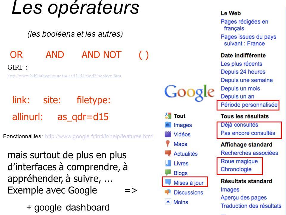 Les opérateurs (les booléens et les autres) ORANDAND NOT GIRI : http://www.bibliotheques.uqam.ca/GIRI/mod3/booleen.htm ( ) link:site: as_qdr=d15 filetype: allinurl: mais surtout de plus en plus dinterfaces à comprendre, à appréhender, à suivre,...