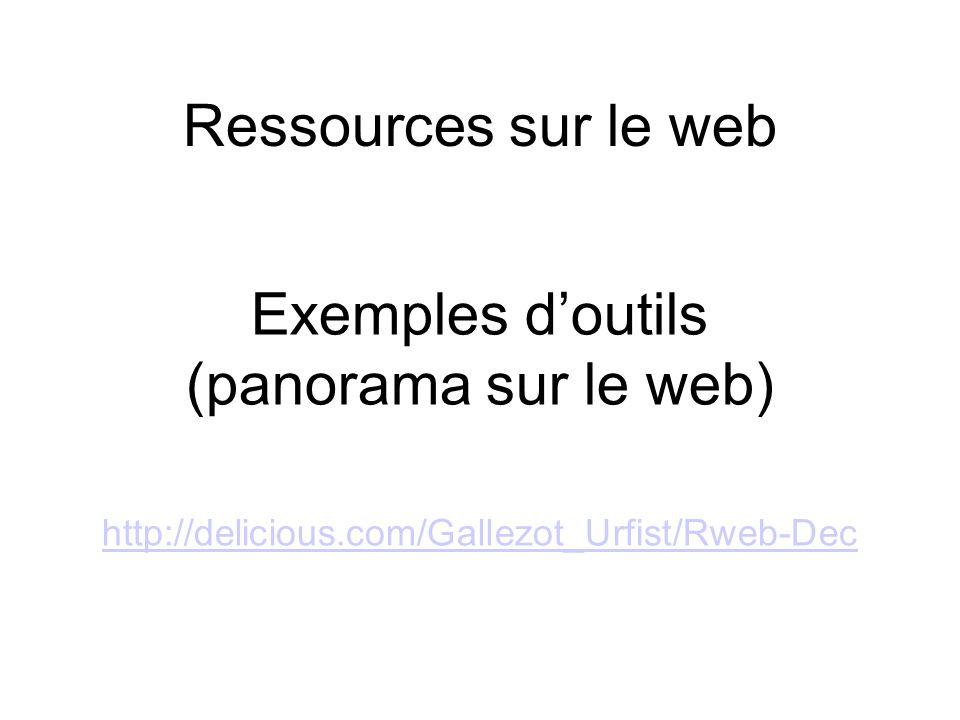 Ressources sur le web Exemples doutils (panorama sur le web) http://delicious.com/Gallezot_Urfist/Rweb-Dec http://delicious.com/Gallezot_Urfist/Rweb-Dec
