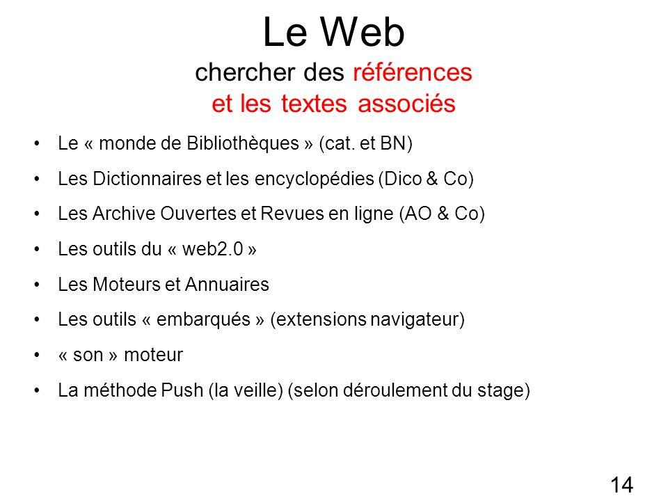14 Le Web chercher des références et les textes associés Le « monde de Bibliothèques » (cat.