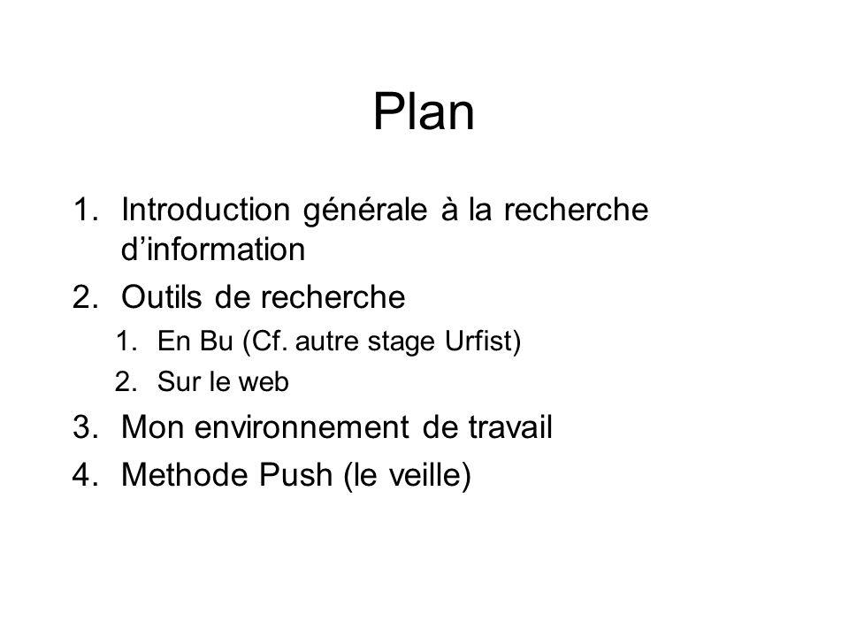 Plan 1.Introduction générale à la recherche dinformation 2.Outils de recherche 1.En Bu (Cf.