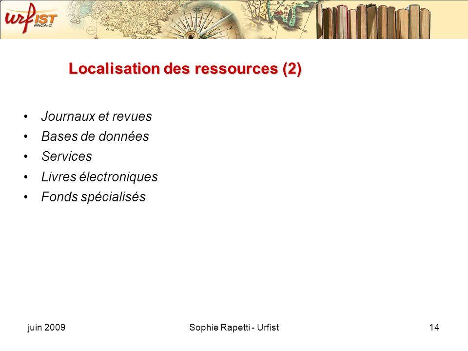 juin 2009Sophie Rapetti - Urfist14 Localisation des ressources (2) Journaux et revues Bases de données Services Livres électroniques Fonds spécialisés