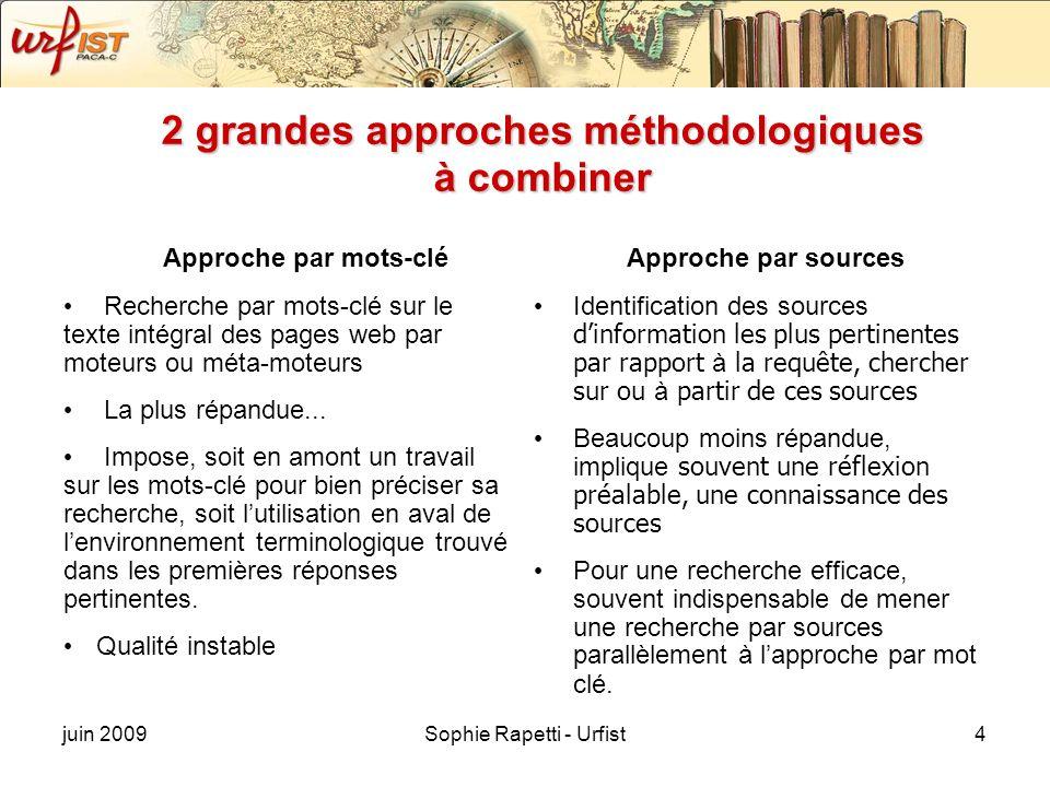 juin 2009Sophie Rapetti - Urfist4 2 grandes approches méthodologiques à combiner Approche par mots-clé Recherche par mots-clé sur le texte intégral de