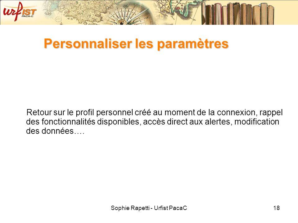 Sophie Rapetti - Urfist PacaC18 Personnaliser les paramètres Retour sur le profil personnel créé au moment de la connexion, rappel des fonctionnalités