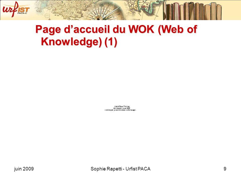 juin 2009Sophie Rapetti - Urfist PACA9 Page daccueil du WOK (Web of Knowledge) (1)