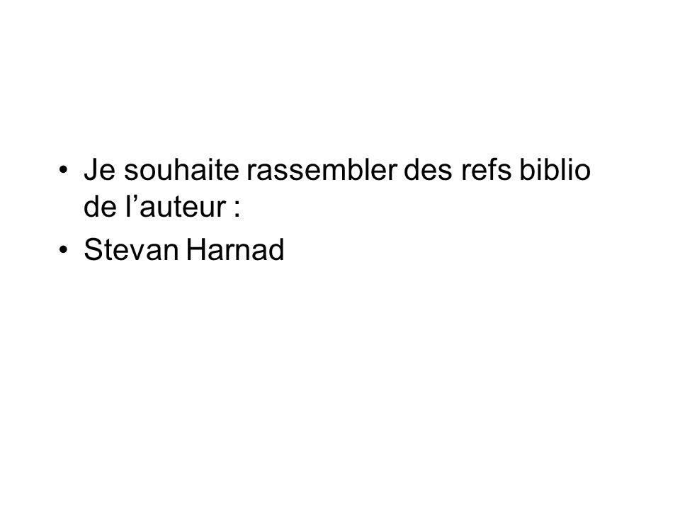 Je souhaite rassembler des refs biblio de lauteur : Stevan Harnad