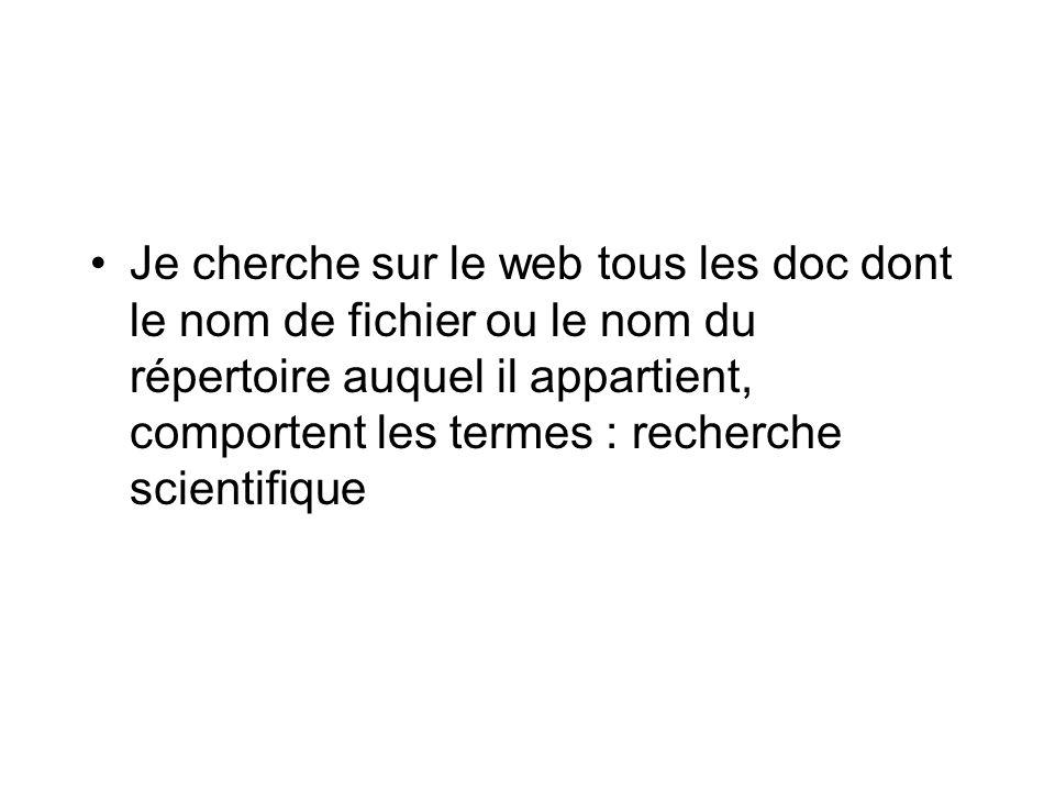 Je cherche sur le web tous les doc dont le nom de fichier ou le nom du répertoire auquel il appartient, comportent les termes : recherche scientifique