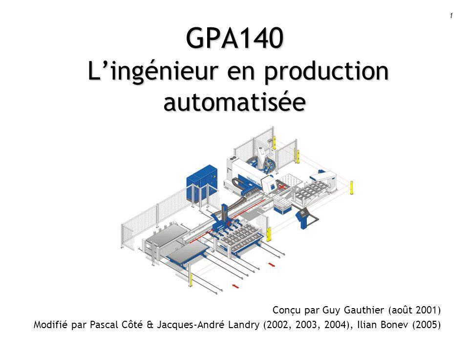 1 GPA140 Lingénieur en production automatisée Conçu par Guy Gauthier (août 2001) Modifié par Pascal Côté & Jacques-André Landry (2002, 2003, 2004), Ilian Bonev (2005)