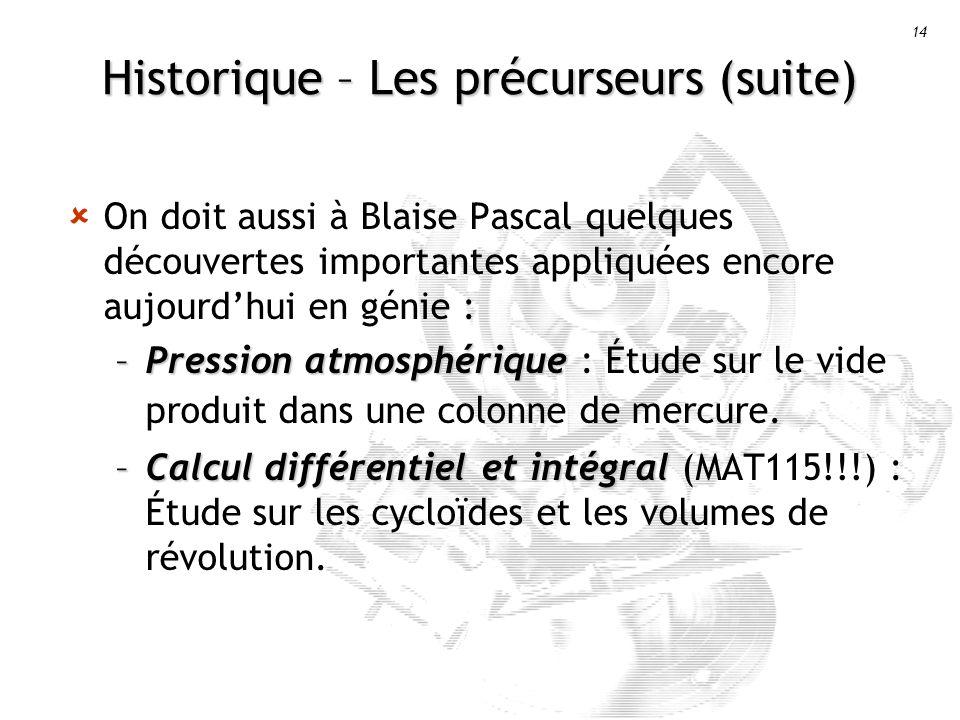 14 Historique – Les précurseurs (suite) On doit aussi à Blaise Pascal quelques découvertes importantes appliquées encore aujourdhui en génie : –Pression atmosphérique –Pression atmosphérique : Étude sur le vide produit dans une colonne de mercure.