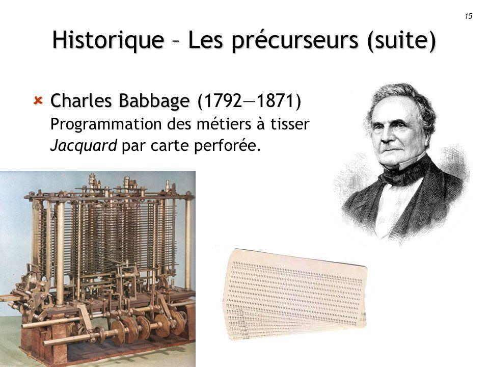 15 Historique – Les précurseurs (suite) Charles Babbage Charles Babbage (17921871) Programmation des métiers à tisser Jacquard par carte perforée.