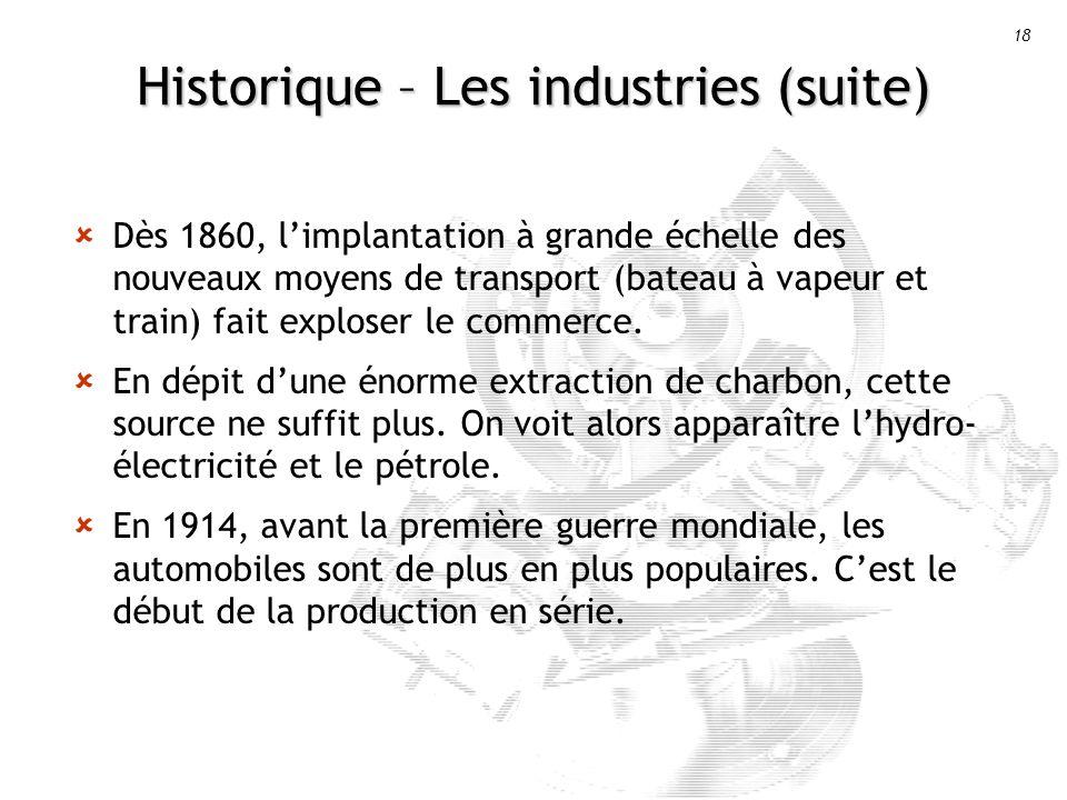 18 Historique – Les industries (suite) Dès 1860, limplantation à grande échelle des nouveaux moyens de transport (bateau à vapeur et train) fait exploser le commerce.