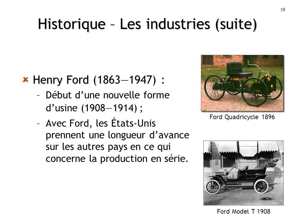 19 Historique – Les industries (suite) Ford Model T 1908 Ford Quadricycle 1896 Henry Ford Henry Ford (18631947) : –Début dune nouvelle forme dusine (19081914) ; –Avec Ford, les États-Unis prennent une longueur davance sur les autres pays en ce qui concerne la production en série.