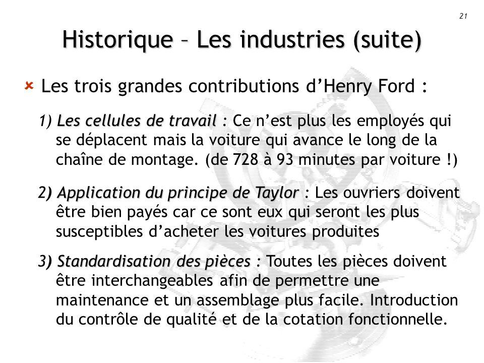21 Historique – Les industries (suite) Les trois grandes contributions dHenry Ford : Les cellules de travail 1) Les cellules de travail : Ce nest plus les employés qui se déplacent mais la voiture qui avance le long de la chaîne de montage.