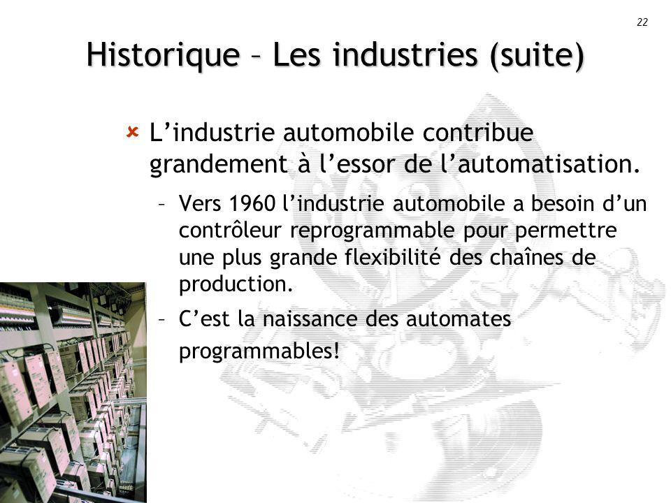 22 Historique – Les industries (suite) Lindustrie automobile contribue grandement à lessor de lautomatisation.