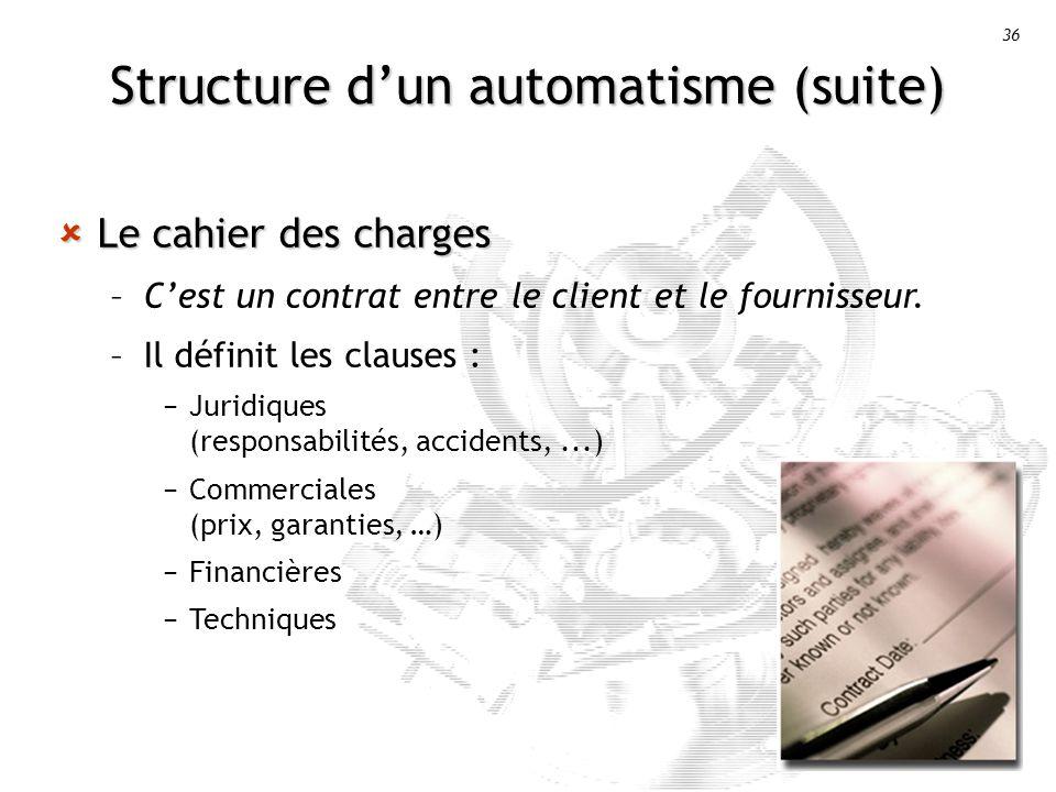 36 Structure dun automatisme (suite) Le cahier des charges Le cahier des charges –Cest un contrat entre le client et le fournisseur.