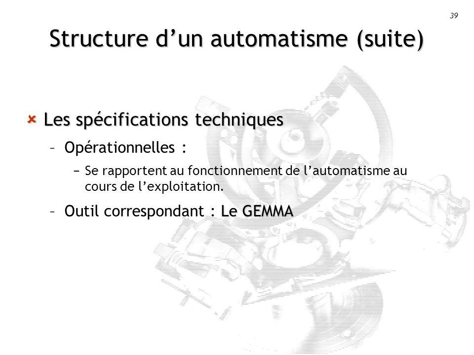 39 Structure dun automatisme (suite) Les spécifications techniques Les spécifications techniques –Opérationnelles : Se rapportent au fonctionnement de lautomatisme au cours de lexploitation.