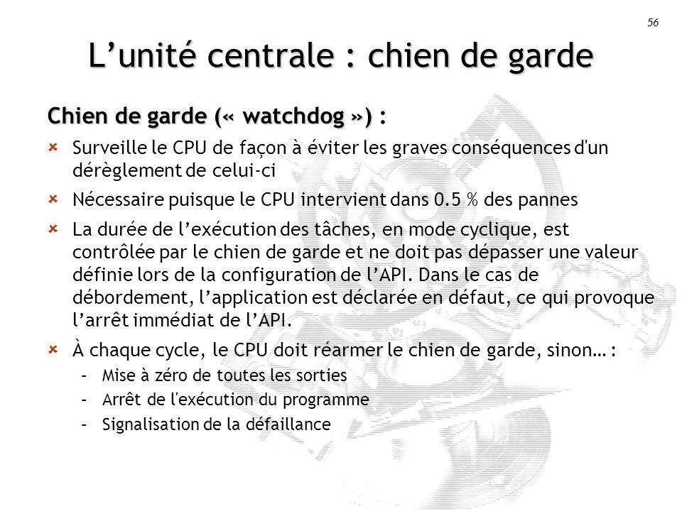 56 Lunité centrale : chien de garde Chien de garde (« watchdog ») Chien de garde (« watchdog ») : Surveille le CPU de façon à éviter les graves conséquences d un dérèglement de celui-ci Nécessaire puisque le CPU intervient dans 0.5 % des pannes La durée de lexécution des tâches, en mode cyclique, est contrôlée par le chien de garde et ne doit pas dépasser une valeur définie lors de la configuration de lAPI.