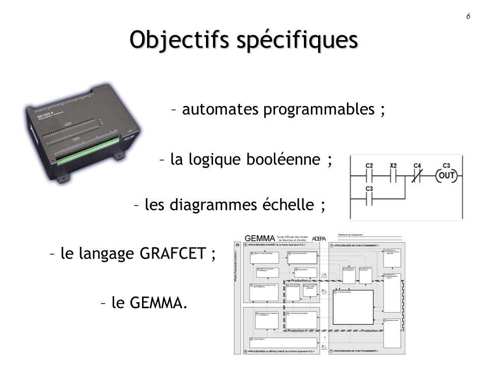 6 Objectifs spécifiques – automates programmables ; – la logique booléenne ; – le GEMMA.