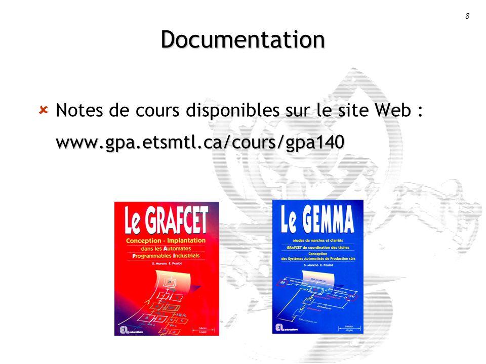 8 Documentation www.gpa.etsmtl.ca/cours/gpa140 Notes de cours disponibles sur le site Web : www.gpa.etsmtl.ca/cours/gpa140