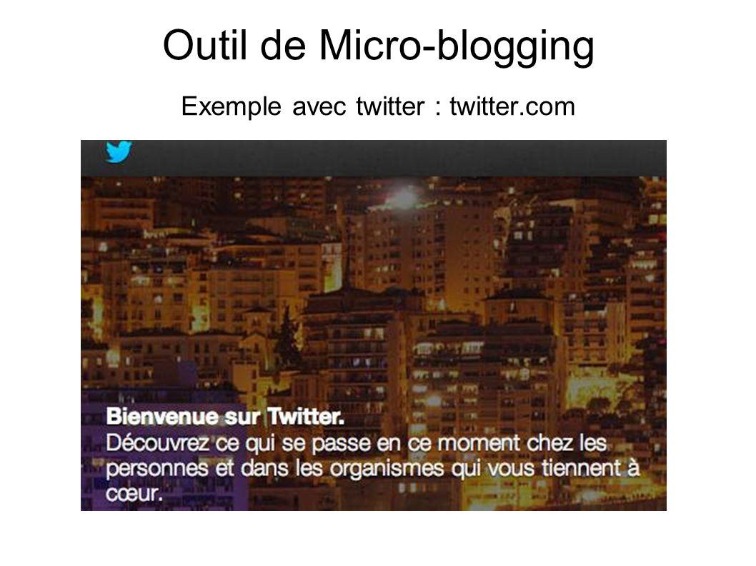 Outil de Micro-blogging Exemple avec twitter : twitter.com