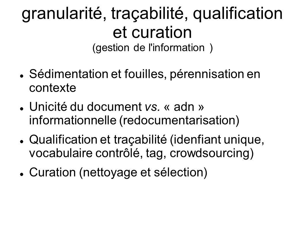 granularité, traçabilité, qualification et curation (gestion de l'information ) Sédimentation et fouilles, pérennisation en contexte Unicité du docume