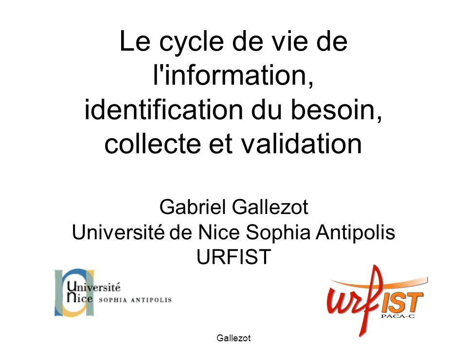 Gallezot Les sources « BU » Bases de données factuelles (résultats expérimentaux,...) Bases bibliographiques : (références art.