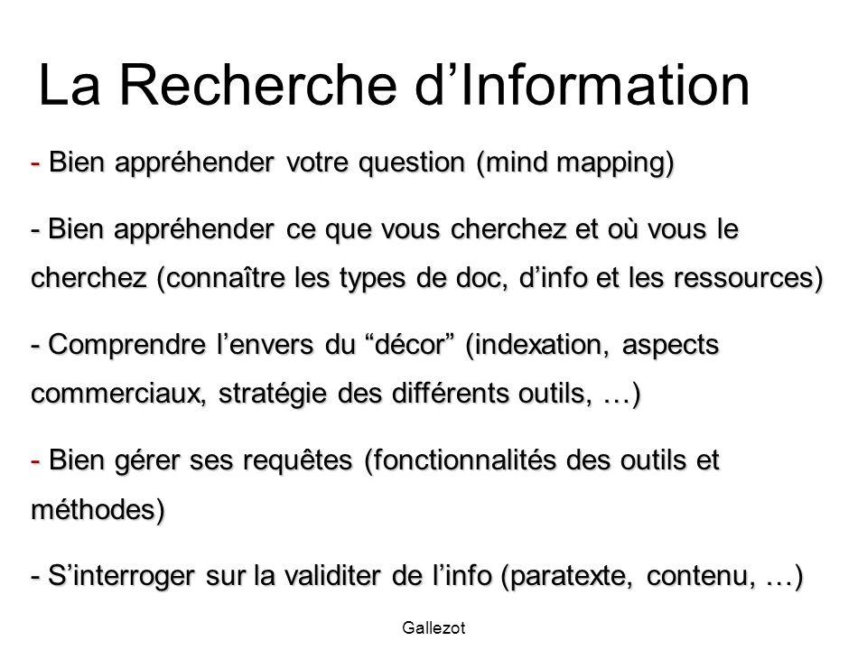 Gallezot La Recherche dInformation - Bien appréhender votre question (mind mapping) - Bien appréhender ce que vous cherchez et où vous le cherchez (co