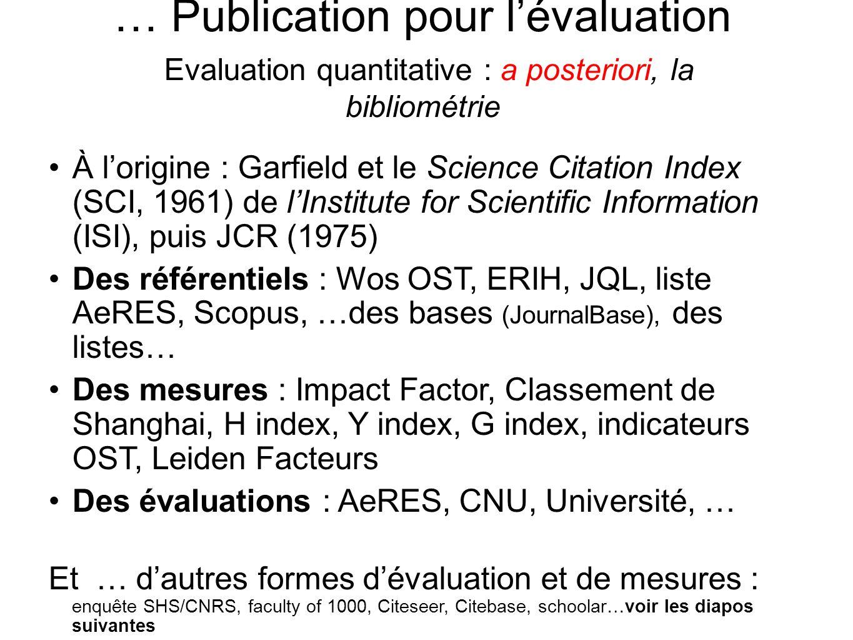 … Publication pour lévaluation Evaluation quantitative : a posteriori, la bibliométrie À lorigine : Garfield et le Science Citation Index (SCI, 1961)