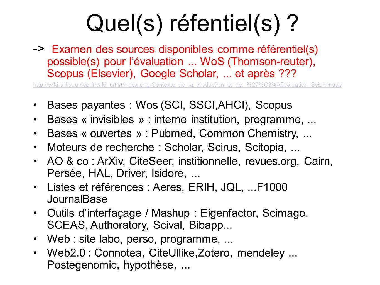 Quel(s) réfentiel(s) ? -> Examen des sources disponibles comme référentiel(s) possible(s) pour lévaluation... WoS (Thomson-reuter), Scopus (Elsevier),