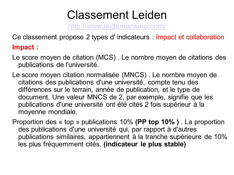 Classement Leiden http://www.leidenranking.com/ http://www.leidenranking.com/ Ce classement propose 2 types d' indicateurs : Impact et collaboration I