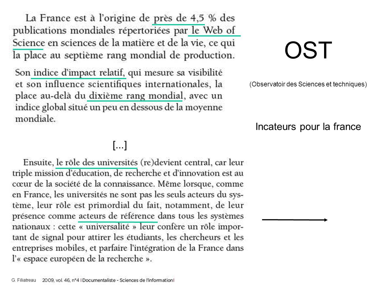 OST (Observatoir des Sciences et techniques) Incateurs pour la france [...] G. Filiatreau